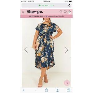 Showpo. Women in power navy floral dress!